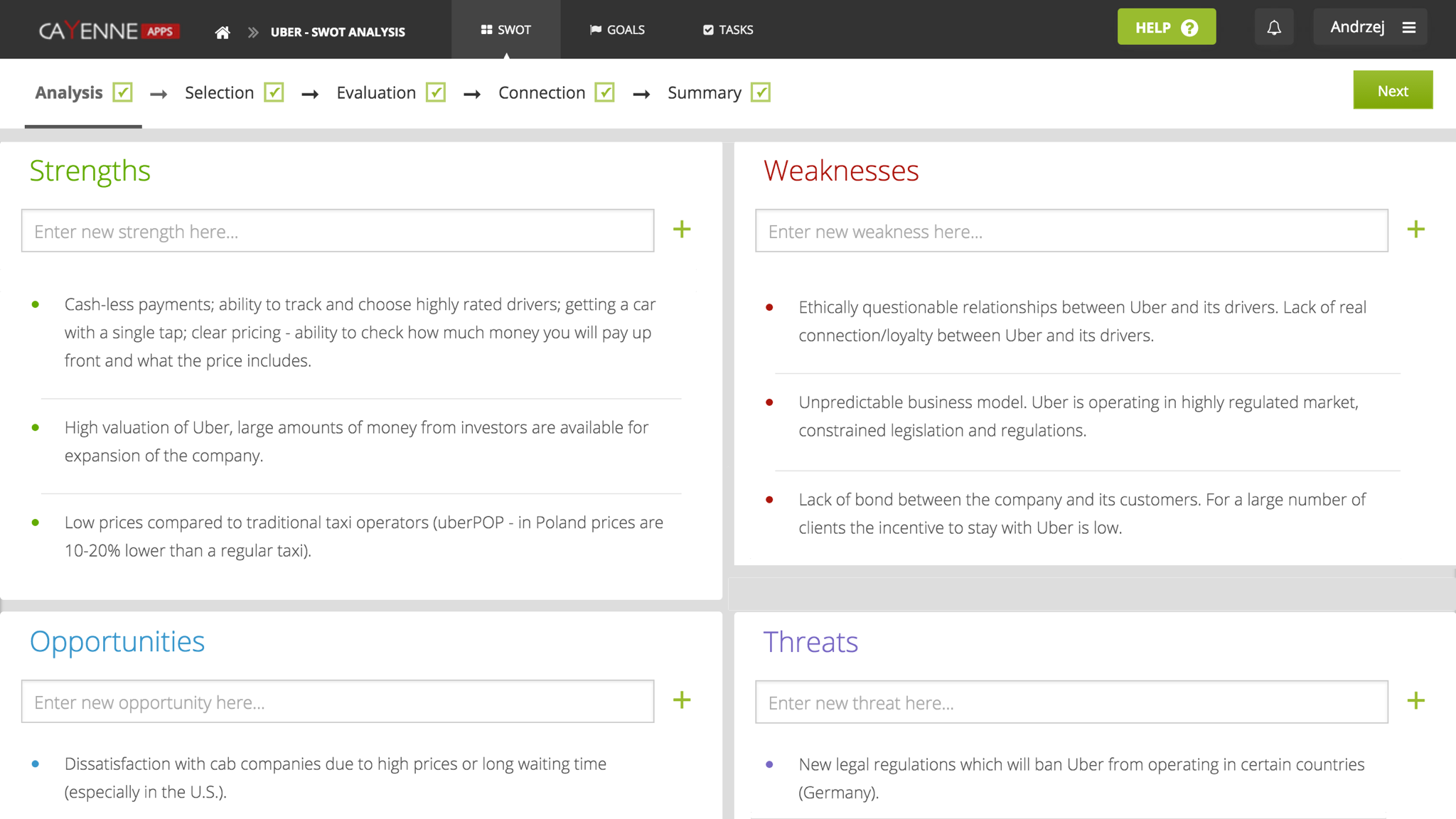 CayenneApps Next Generation SWOT Analysis Tool